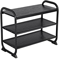 SONGMICS Shoe Bench, Shoe Rack with Metal Frame, Multifunction Storage Organizer for Living Room Kitchen Room Bathroom Black ULMR31B