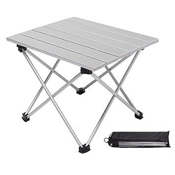ZHANGZHIYUA Mesa portátil de Aluminio Mesa Plegable de Aluminio con Bolsa de Transporte Rueda para Arriba