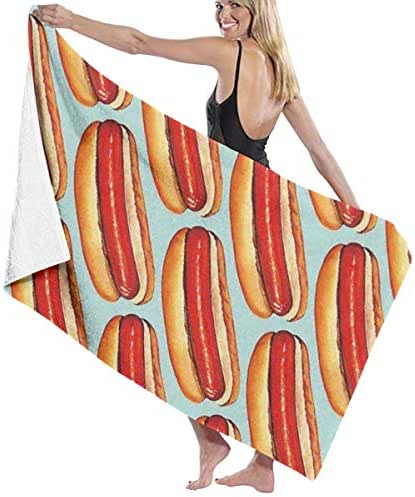 100% Polyester Hot Hotdogs Beach Towel Soft and Absorbent Beach Bath Pool Towel Large Beach Towels One Size About 31.5 X 51.2 Inches