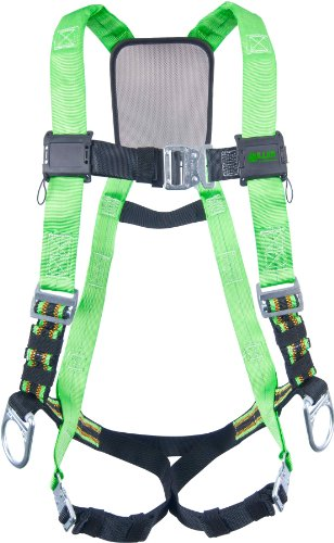 Miller Fall Protection P950QC-7/UGN Miller DuraFlex Python Full Body Harness with Back and Side D-Rings, 400 lb. Capacity, Black/Green