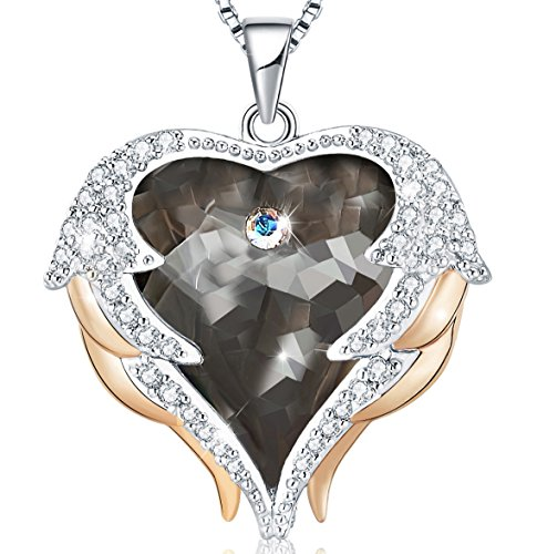 (Mevecco Women Heart of The Ocean Heart Pendant Necklace Made with Swarovski Crystals Jewelry Grey Colour)