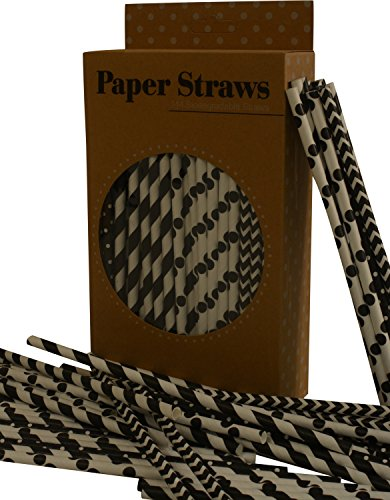 Paper Straws, Biodegradable, Black color with different designs, Box of 144 straws (Friendly Design Environmentally)