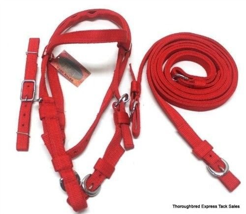 D.A. Brand Red Poly Nylon Pony Size Western Bridle Split Reins Horse Tack Equine (Western Bridle Pony)