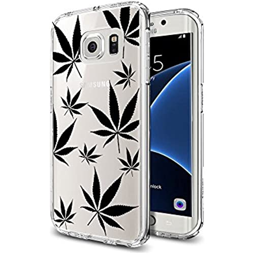 Kush Transparent Silicon TPU Samsung Galaxy S7 Edge Case Kush Marijuana Leaves Mj Pattern Black Ink Design Sales
