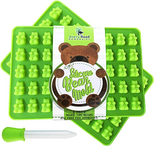Premium Gummy Bear Mold - 2 PACK - BONUS DROPPER - 100 Bears on Trays + RECIPE PDF - Silicone Molds 100% Food Grade BPA Free FDA Approved Candy Chocolate & Gelatin Maker (Mold Teddy Bear)