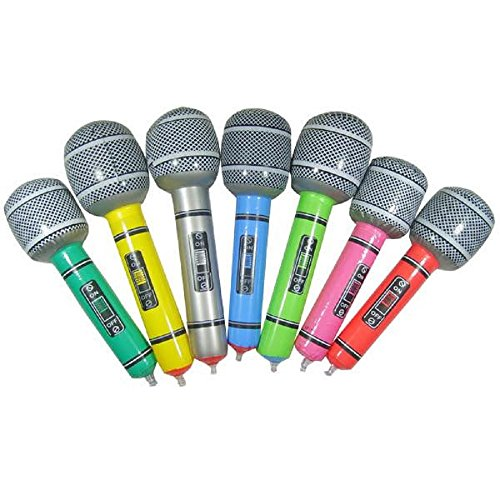 7 pcs / Lot Inflatable Microphone Balloons Blow Up Singing Party Time Star Disco Toy Children Kids Gift Party Supplies (Junior Express Halloween 2017)