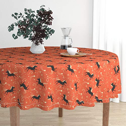 Roostery Round Tablecloth - Johanna Parker Unicorn Fantasy Halloween Whimsical Illustration Horse Vintage by Johannaparkerdesign - Cotton Sateen Tablecloth 90in -