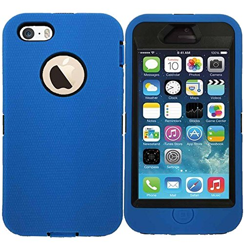 Kecko® Heavy Duty Shock-absorbing Drop Protection Impact Resistant Rugged Military Grade Soft Silicon Slim Fit Case Cover for iphone 5 w/ Built-in Screen Protector(not for iphone 5s)for Girls & Boys
