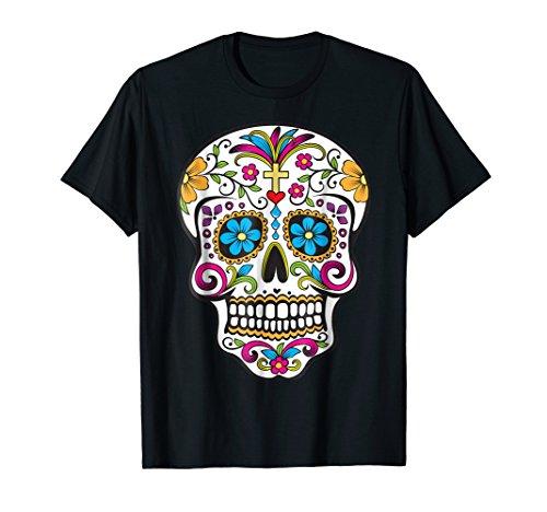 Mens Day of the Dead Sugar Skull T-Shirt Small Black -