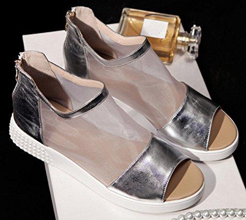 Easemax Womens Trendy Peep Toe High Top Mesh Platform Shoes Zip Gladiator Sandals Silver bsoEtQRd40