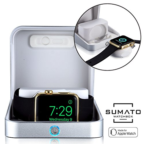 5-in-1 Apple Watch charger - [NEW] SUMATO WATCHBOX Charging Station for Apple Watch Band 42mm 38mm + 5000mAh Power Bank, Charging cable, Keychain Travel Charger, Apple Watch Series 2 3 1 (Silver) by Sumato WatchBox