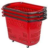 Mophorn 3PCS Shopping Carts, Red Shopping Baskets