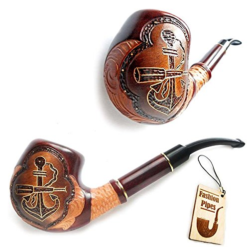 Exclusive Long Tobacco Smoking Pipe Decorated Inlaid