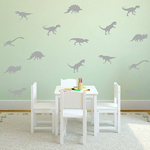 Yanqiao Cartoon Set of 9 PCS Removable DIY Cute Cartoon Animals Vinyl Dinosaur Wall art Decor Decals Kids' Room Wall Stickers Murals Peel & Stick art for Living Room Nursery Room Bedroom