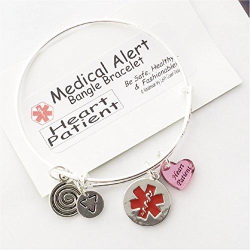 Medical Alert Bangle Bracelet, HEART Patient Heart Charm, Alert charm,silver toned, original design - Medical Charms For Bracelets