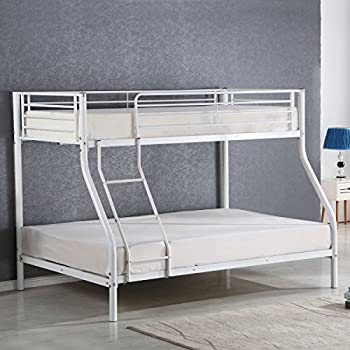 Costzon Twin Over Full Metal Bed Bunk Frame With Ladders White