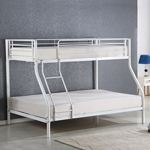 Modern Loft Bed (Costzon Twin Over Full Metal Bed, Metal Bunk Bed Frame with Ladders, White)