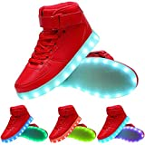 TUTUYU Kids&Adult 11 Colors LED Light Up Shoes High Top Fashion Flashing Sneakers Red 43