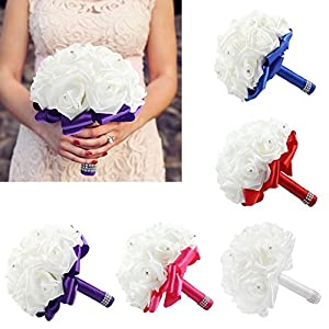 StillCool Wedding Bouquets Crystal Pearl Silk Roses Bridal Bridesmaid Wedding Hand Bouquet Artificial Fake Flowers (18cm24cm, Mint-Green) 4