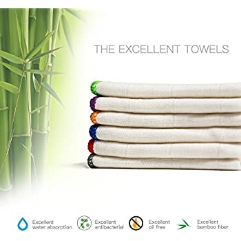 100% Bamboo Kitchen Towels | Eco-friend Microfiber Wash Dish Towels, Super Absorbent Cleaning Rags (6 Pack, 11.8x11.8 inch), More Durable Than Cotton, Hypoallergenic.