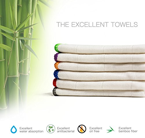 100% Bamboo Kitchen Dish Cloths (6 Pack) White Washcloths Dish Towels, Cleaning Cloths & Dish Rags(12 x 12 Inch), Ultra Absorbent Better Than Cotton Bamboo Dish Cloth