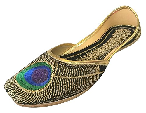 Step n Style Womens Khussa Shoes Punjabi Peacock Jutti Flat Ballet Jaipuri Sandals Black