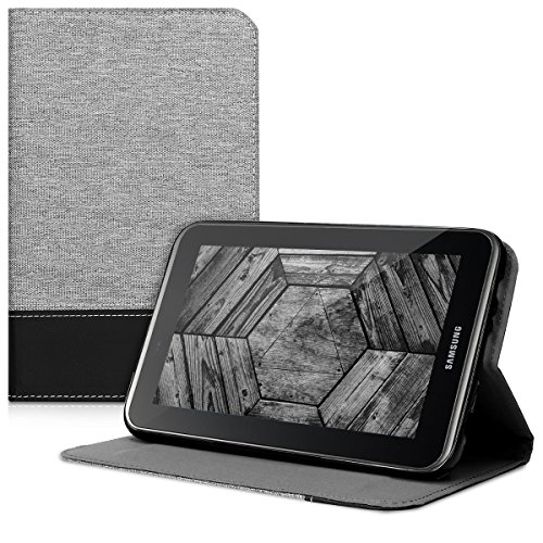 Canvas Tabs - kwmobile Case for Samsung Galaxy Tab 2 7.0 P3110 / P3100 - PU Leather and Canvas Protective Cover with Stand Feature - grey black