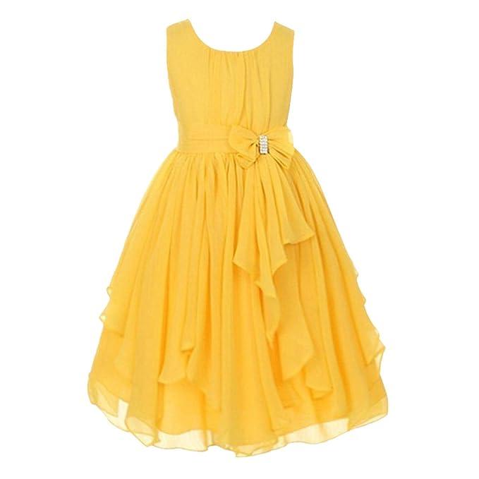 FREE FISHER Niñas Vestido Elegante de Princesa de Gasa para boda fiesta, Amarillo 3 años