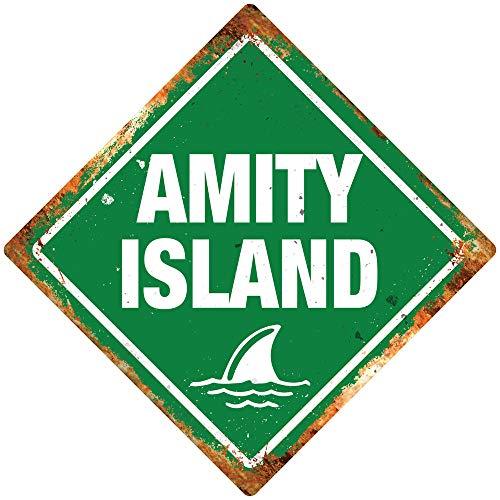 PotteLove Amity Island Green Diamond Metal Wall Sign Plaque Art Shark Movie Fin 80s Film Decor Novelty Art Sign Funny Aluminum Metal Tin Signs