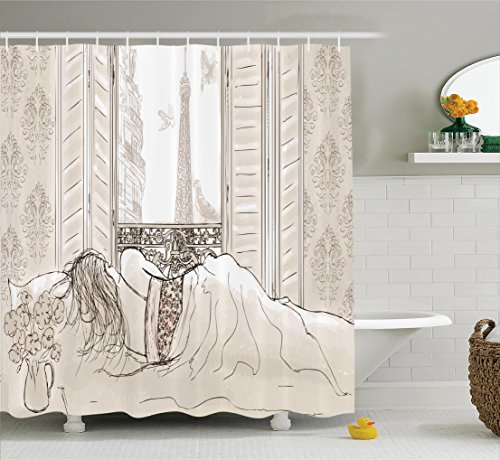 Ambesonne Paris Decor Shower Curtain Set, Parisian Woman Sleeping with The View of Eiffiel Tower from Window Romance Skecthy Modern Art, Bathroom Accessories, 75 Inches Long, Cream