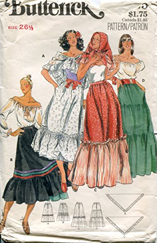 1970s Butterick Pattern 5375 Misses' Tiered Dirndl Skirt and Scarf, Waist 26 1/2 (Hip 36)