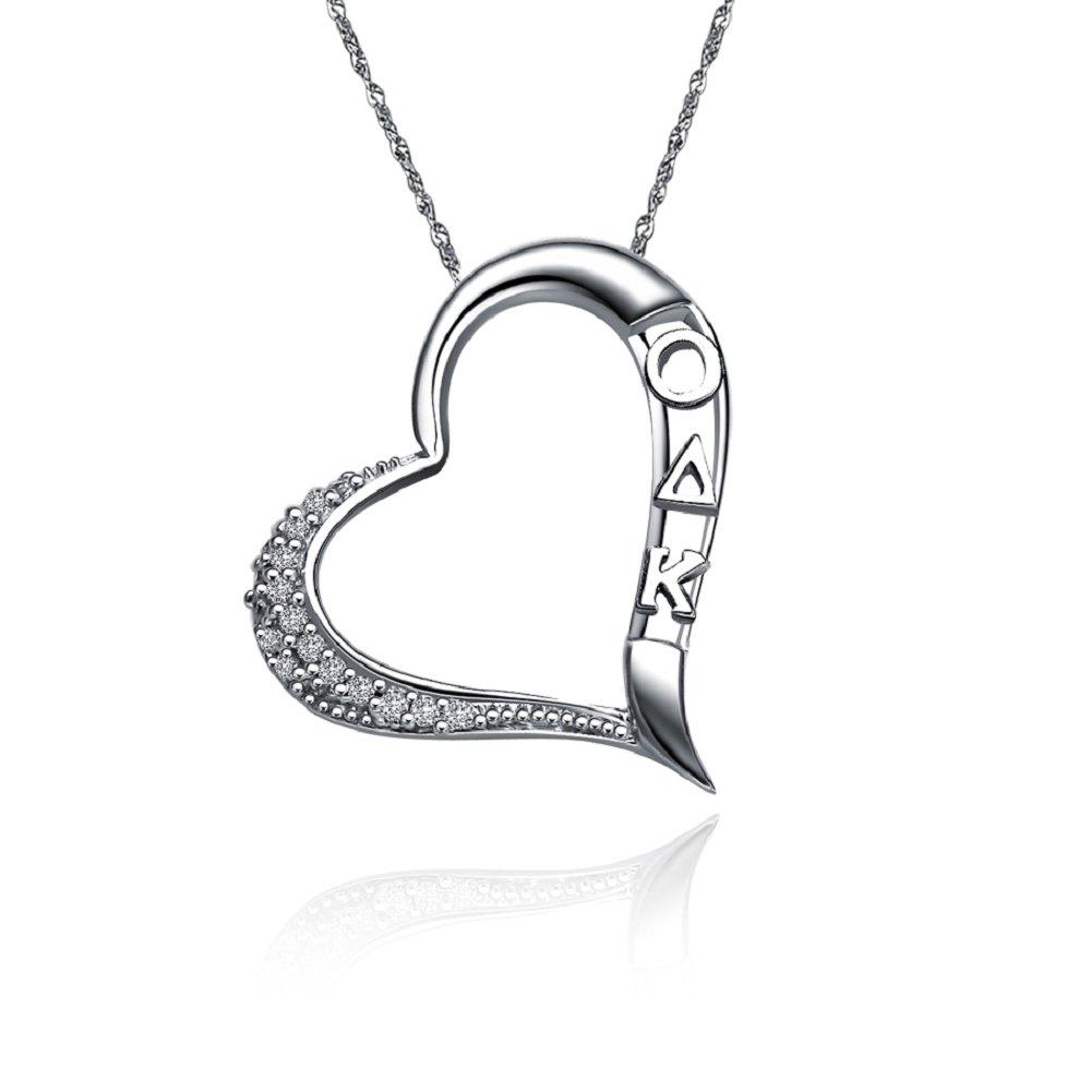 ODK-P004 Omicron Delta Kappa Embedded Heart Silver Lavalier k...
