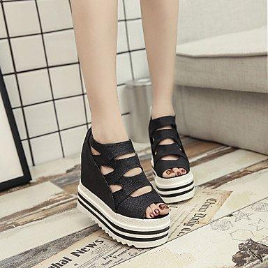 LvYuan Mujer-Tacón Cuña-Zapatos del club-Sandalias-Oficina y Trabajo Vestido Informal-PU-Negro Rosa Plata Silver