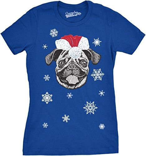 Crazy Dog TShirts - Womens Santa Pug Ugly Christmas Sweater Holiday Dog T Shirt ROYAL - Camiseta Para Mujer
