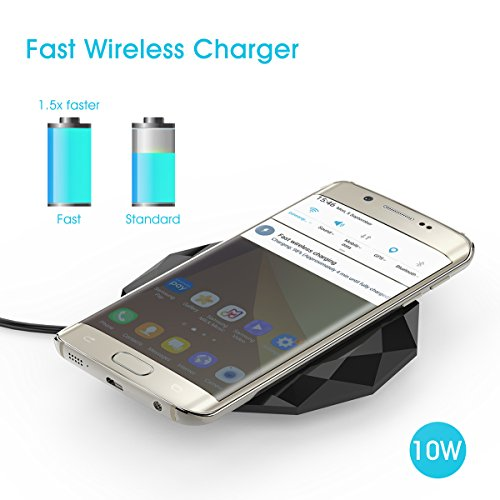 Fast Wireless Charger, YOUSTOO FC17 Fast Charge Qi Wireless Charging Pad for Samsung Galaxy S8, S8 Plus, S7, S7 Edge, S6 Edge Plus, Note 8, Note 5, iPhone 8, 8 Plus, iPhone X