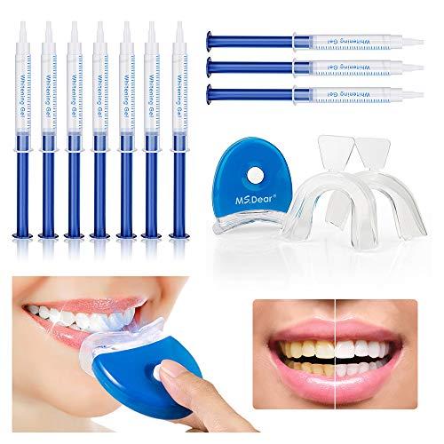 MS.DEAR Dental Equipment Teeth Whitening Gel Kit 44% Peroxide Dental Bleaching System, LED Light Oral Gel Kit Tooth Whitener (Best Teeth Whitening Set)