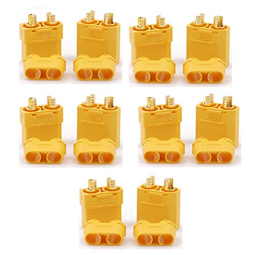 (5 pairs Anti-Spark Connector Plug Male/Female XT90,Battery Connector Set for RC Quadcopter FPV Drone Brushless Motor FPV Drone Battery And More)