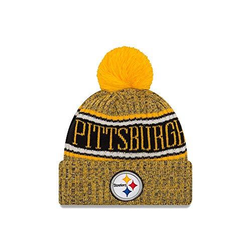 New Era 2018 NFL Pittsburgh Steelers Reverse Sport Stocking Knit Hat Beanie Pom