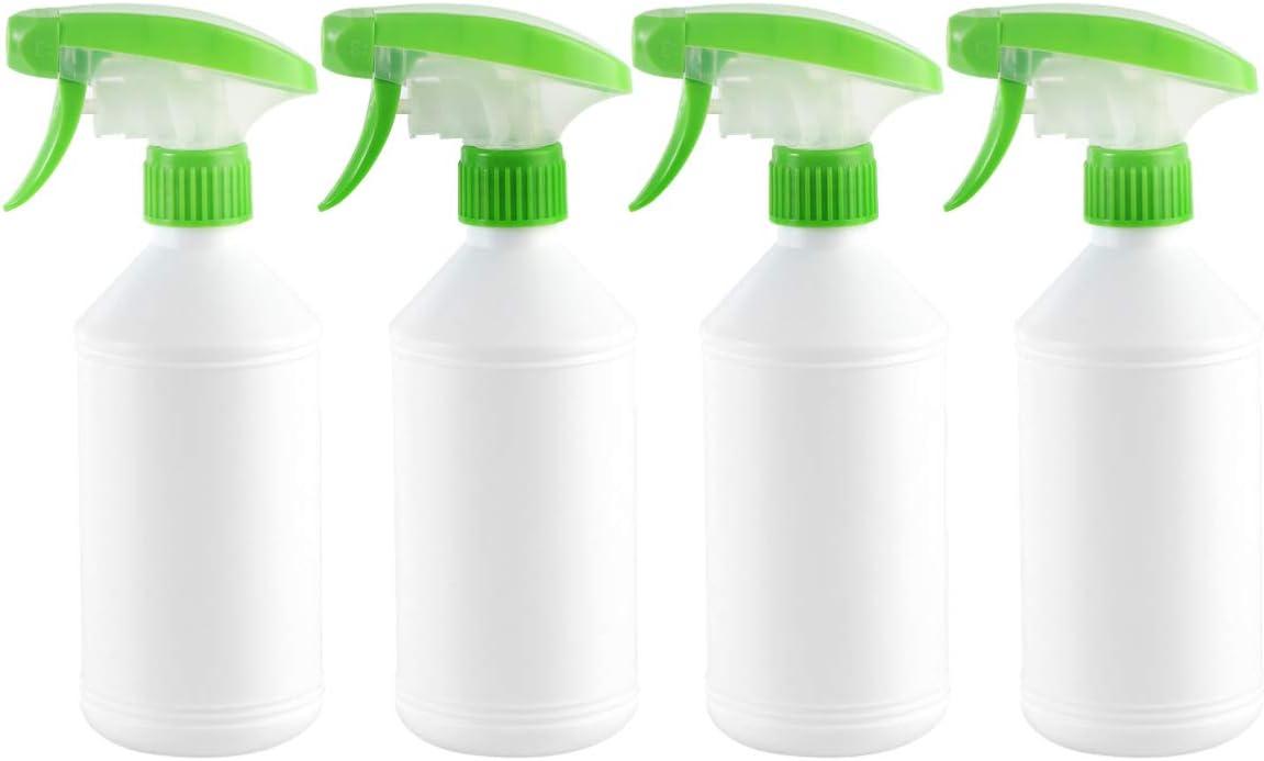 TOPBATHY 4 Piezas Botellas de Plástico Vacías Botella de Spray 500 Ml Bomba de Desinfección de Niebla Fina Botella Disparador Pulverizador de Agua Recargable (Color Aleatorio)