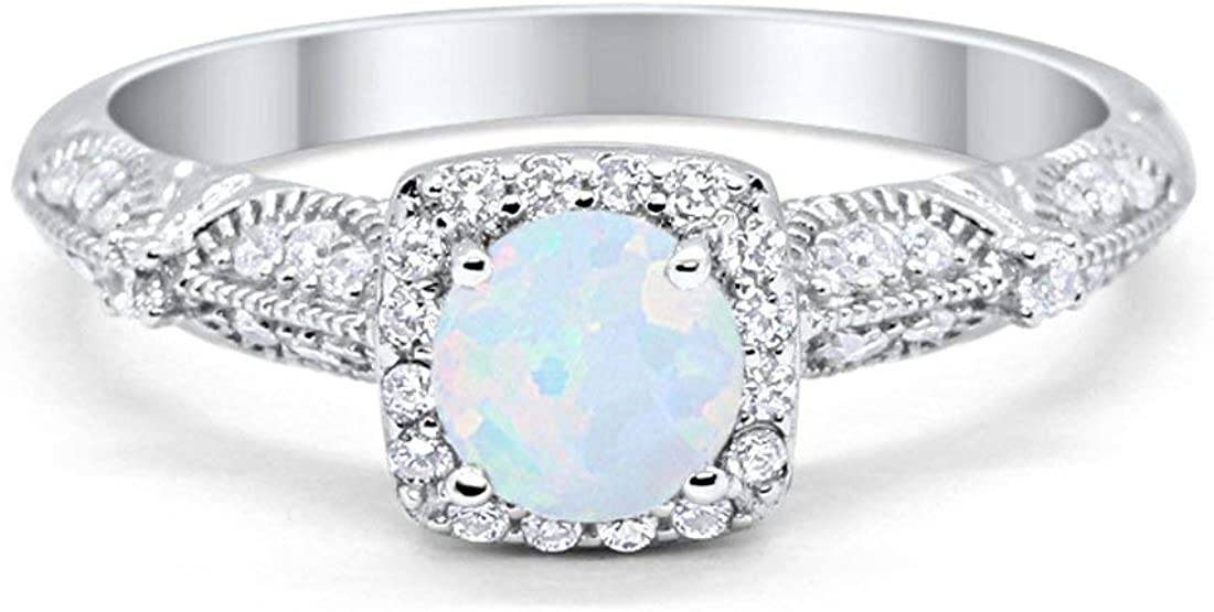 Halo Art Deco Engagement Bridal Ring Wedding Solid Simulated Amethsyt Round Cubic Zirconia 925 Sterling Silver Choose Color Blue Apple Co