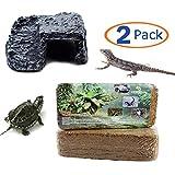 Hamiledyi Reptile Habitat Tropicoco Coconut Soil Bedding Cave Hide-Out Aquarium Resin(Pack of 2) (1bedding fiber+1resin platform)