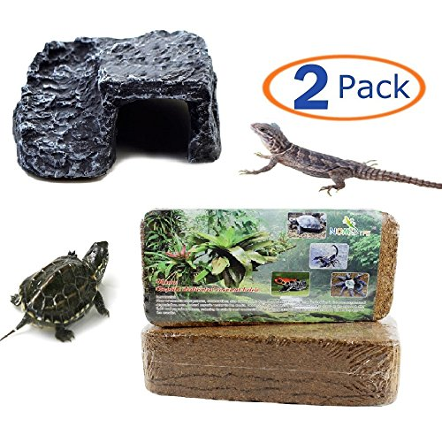 Hamiledyi Reptile Habitat Tropicoco Coconut Soil Bedding Cave Hide-Out Aquarium Resin(Pack of 2) (1bedding fiber+1resin platform) by Hamiledyi