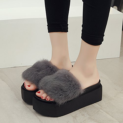 LaxBa Femmes Hommes chauds dhiver Chaussons peluche antiglisse intérieur Cotton-Padded36 gris Chaussures Slipper code standard