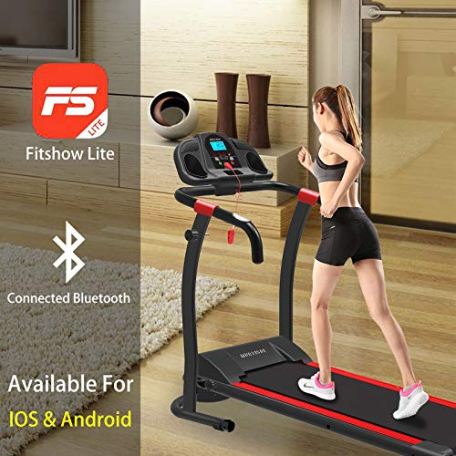 Murtisol Bluetooth Folding Treadmill Walking Running Exercise Fitness Machine Easy Control Home Gym,Easy Assembly, with Smartphone APP Control,12 Pre-Programs and Adjustable Speed