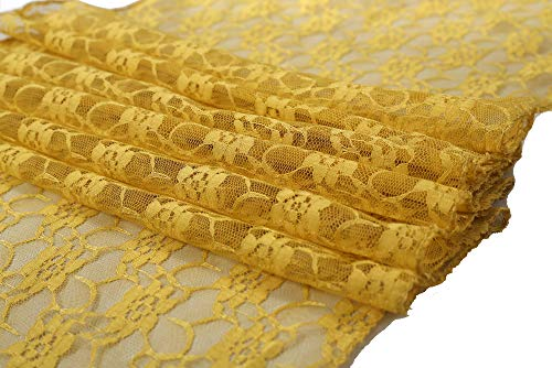 mds Pack of 10 Wedding 12 x 108 inch Lace Table Runner for Wedding Banquet Decor Table Lace Runner- Gold