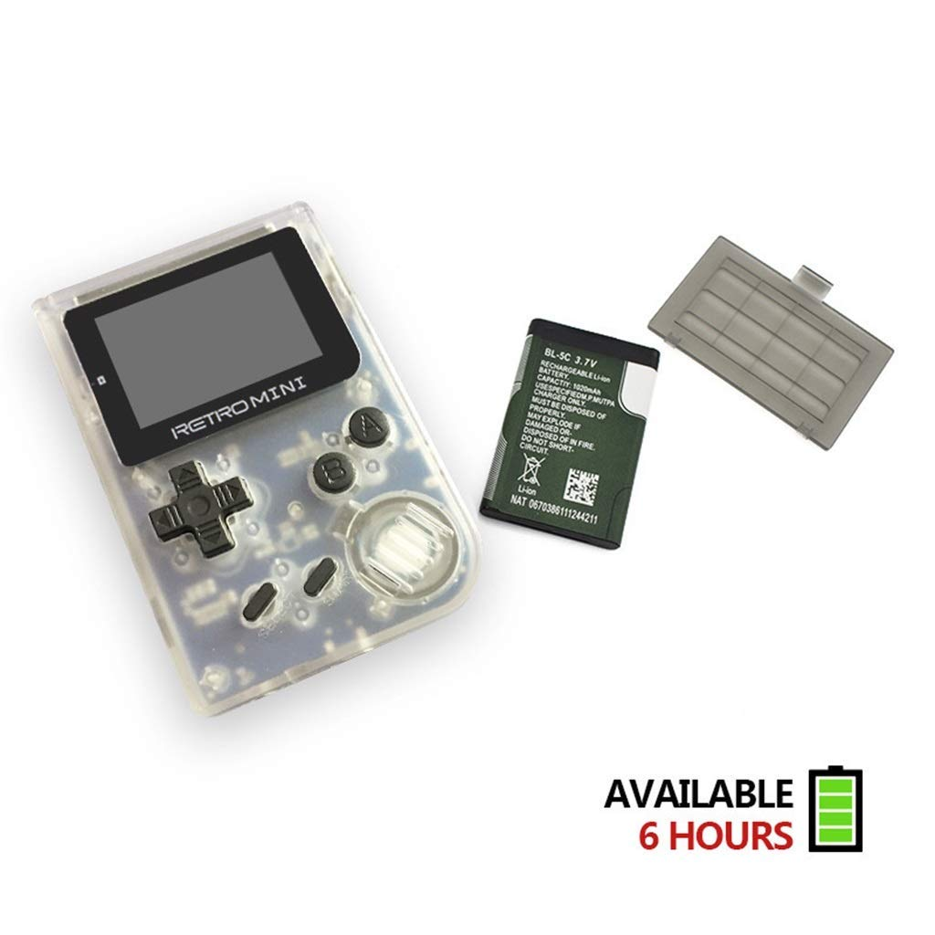 Retro Mini Handheld Video Game System (Transparent White), 16 GB Card, Gamebound Travel case, classic 1037 built in English GBA games by Gamebound (Image #4)