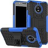 Bracevor Shockproof Motorola Moto E4 Plus [5.5 inch] Hybrid Kickstand Back Case Defender Cover - Blue