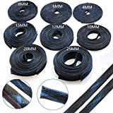 5M Cables Wire Gland Protection Black+Blue Insulation Braided Sleeving Tight Expandable Cable Sleeve 2/4/6/8/10/12/15/20/25mm