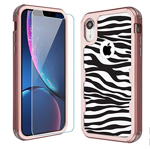 for Apple iPhone XR Case, One Tough Shield Shockproof 3-Layer Protector Phone Case (Rose Gold Color) with Tempered Glass Screen Protector - Zebra B/W ()