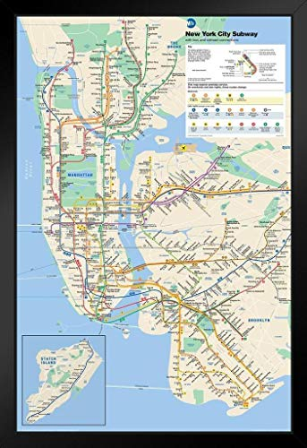 Pyramid America New York City Subway Map Framed Poster 14x20 inch ()